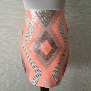 Bebe Sequin Geometric Body Con Skirt in Coral